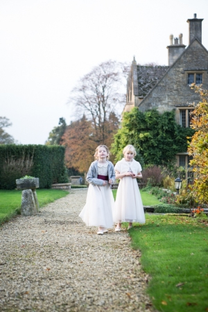Young girls outside of Buckland Manor hotel in the Cotswolds